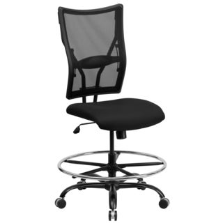 Portam Big and Tall Armless Black Mesh Adjustable Drafting / Office Chair with Footrest