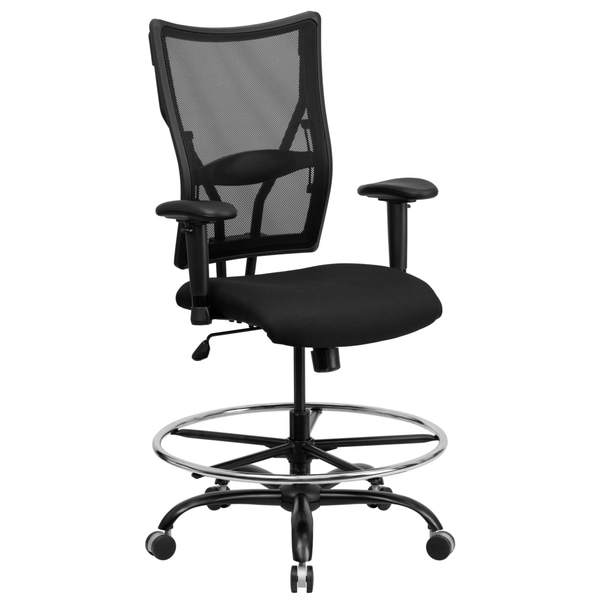 Portam Big And Tall Black Mesh Office Chair With Footrest Ring And Adjustable