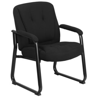 Cato Big and Tall Black Fabric Executive Side Chair with Sled Base