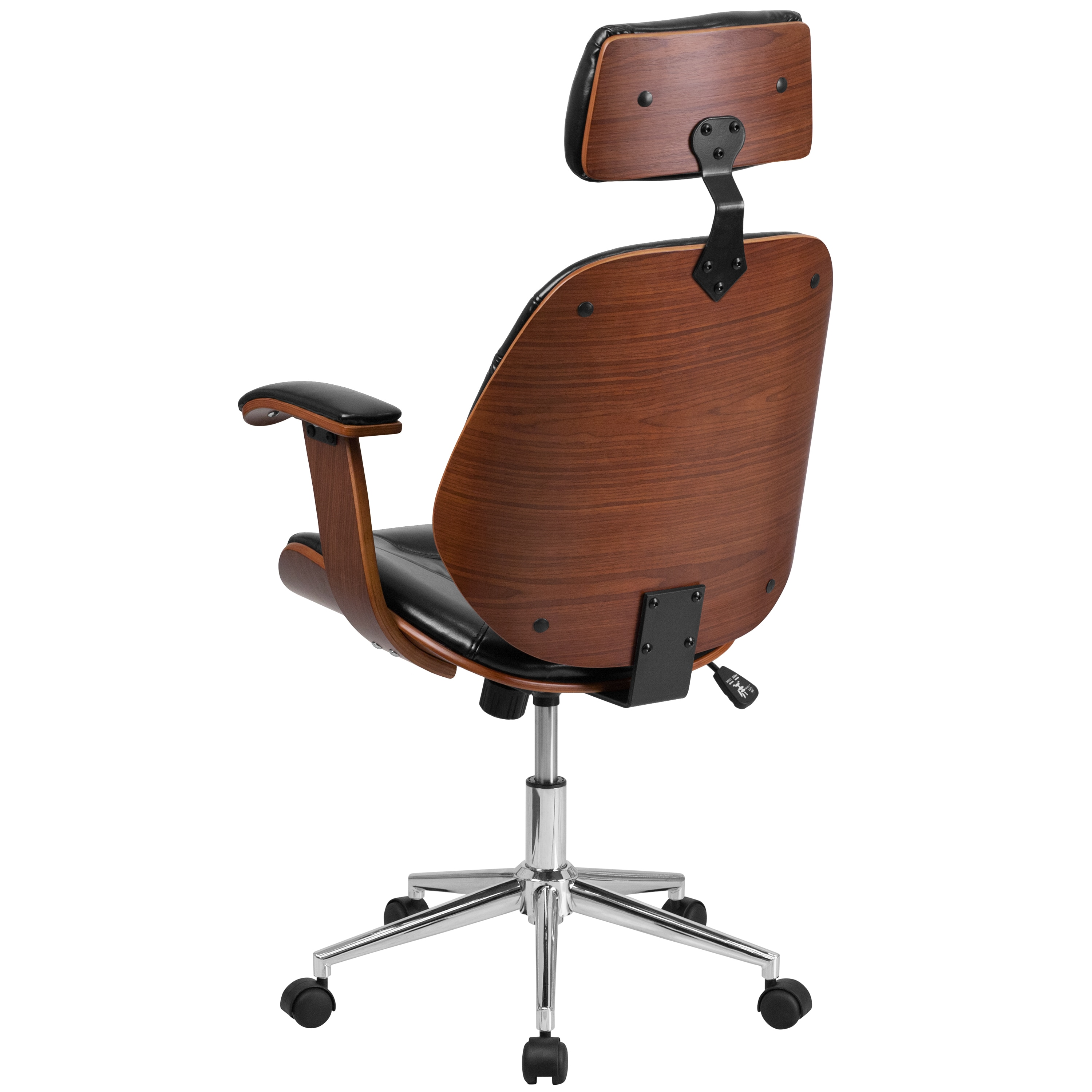 Arly Black Leather Wood Swivel Adjule Executive Office Chair With Headrest