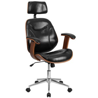Arly Black Leather Wood Swivel Adjustable Executive Office Chair with Headrest