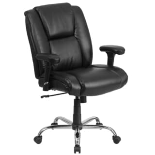 Nerute Big and Tall Black Leather Swivel Office Chair with Adjustable Arms