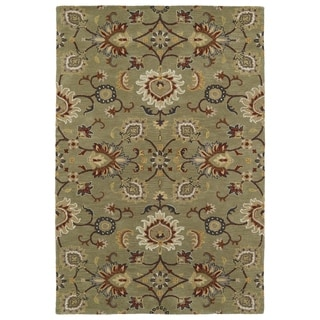 Hand-Tufted Perry Kashan Sage Wool Rug (8'0 x 10'0)