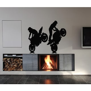 Stunts on a motorcycle Wall Art Sticker Decal