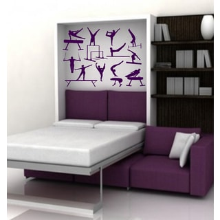 Gymnastics gymnastic projectile acrobatics Wall Art Sticker Decal Purple