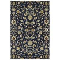 Hand-Tufted Perry Navy All-Over Wool Rug - 2' x 3'