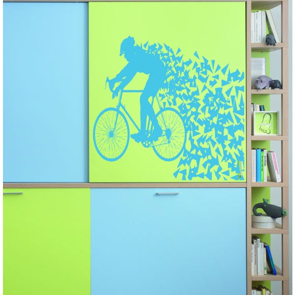 Racing cyclist Wall Art Sticker Decal Blue
