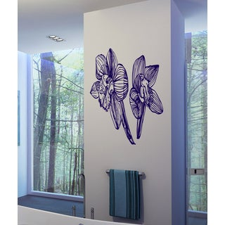 Flowers orchid leaves Wall Art Sticker Decal Purple