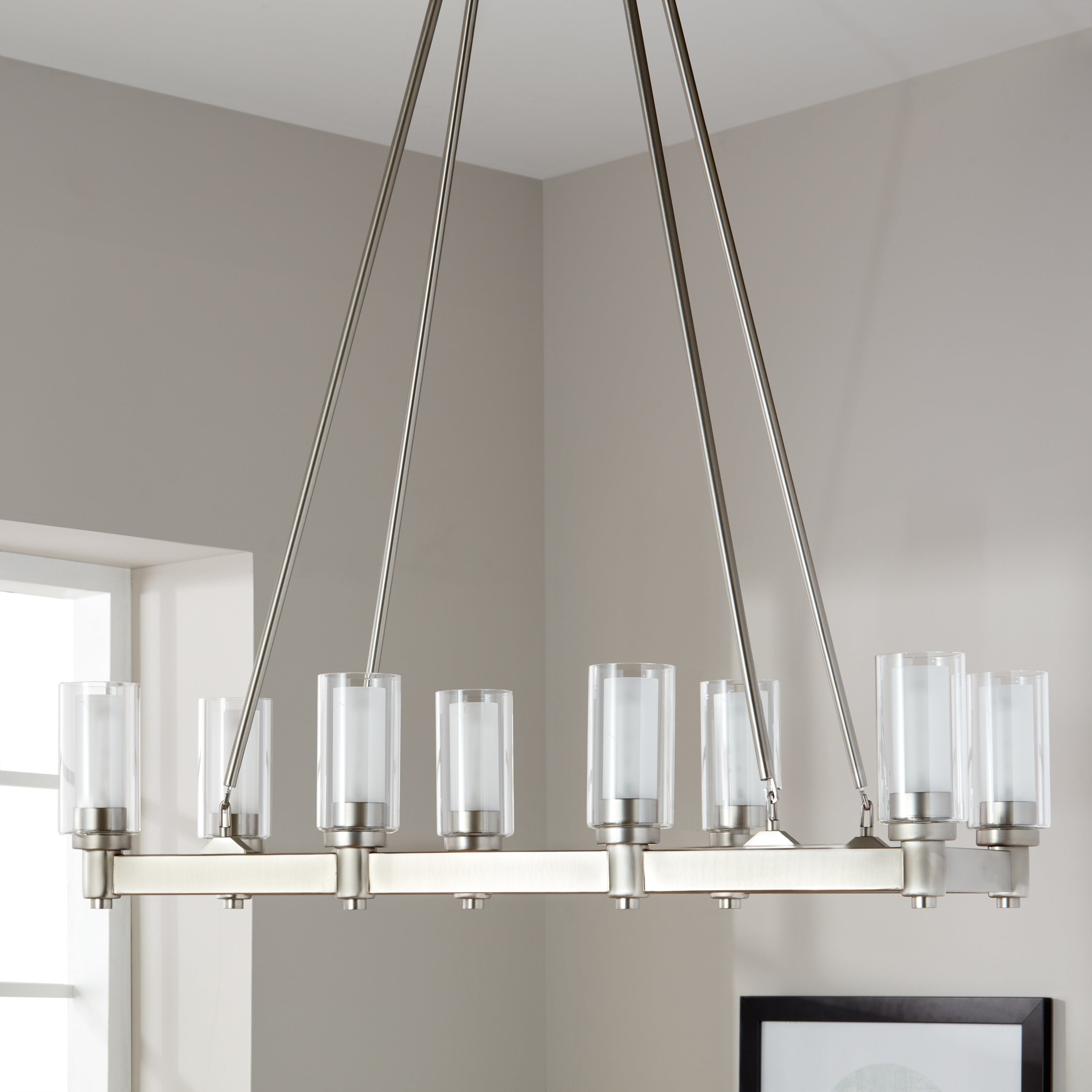 Kichler Lighting Circolo Collection 8 Light Brushed Nickel Linear Chandelier