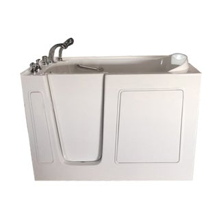 Value Life White Acrylic 55-inch Whirlpool & Air-jetted Left Walk-in Tub