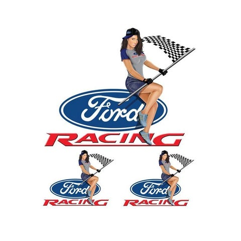 Pilot Automotive 6-inch x 8-inch Ford Pin Up Girl Vehicle Car Decal Stickers