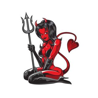 Pilot Automotive 6-inch x 8-inch Devil Girl Vehicle Car Decal Stickers