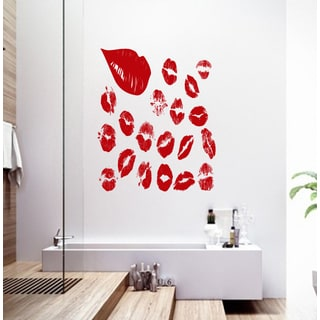 Beautiful lips collage Wall Art Sticker Decal Red