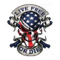 Pilot Automotive 6-inch x 8-inch Live Free or Die Skull Vehicle Car Decal Stickers