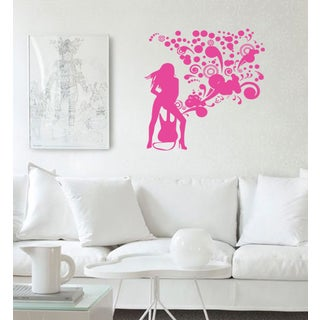 Girl and guitar Wall Art Sticker Decal Pink