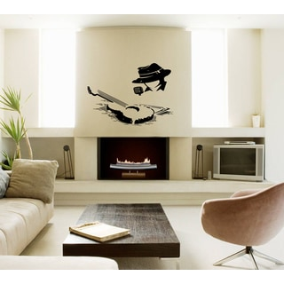 Silhouette of a man and a guitar Wall Art Sticker Decal