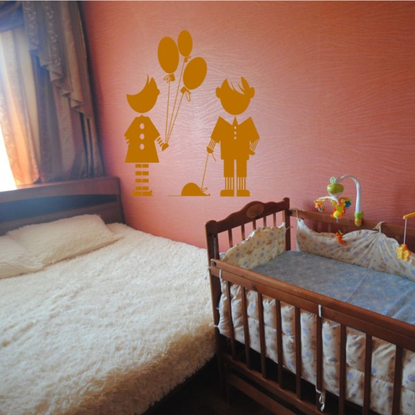 Girl with balloons boy with the mouse Wall Art Sticker Decal Orange