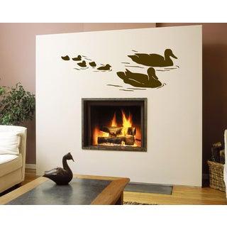 Duck and ducklings Wall Art Sticker Decal Brown