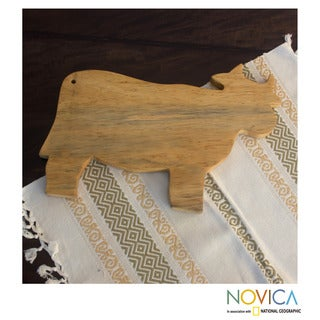 Handcrafted Pinewood 'Happy Cow' Cutting Board (Guatemala)