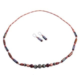 Handcrafted Silver Ceramic 'Inca Colors' Serpentine Jewelry Set (Peru)