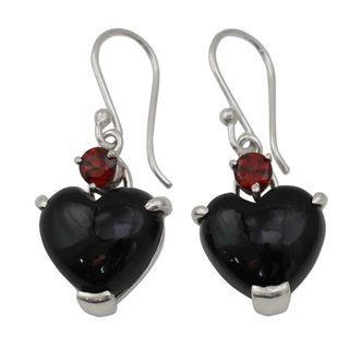 Handcrafted Sterling Silver 'Goth Love' Onyx Garnet Earrings (India)