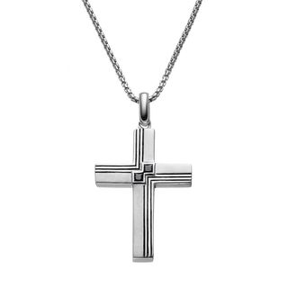 JewelMore Men's Sterling Silver 1/5k T.W. Black Diamond Textured Cross Pendant Necklace
