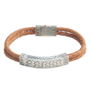 Men's Sterling Silver Leather 'Jakarta Man' Bracelet (Indonesia)