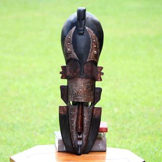 Handmade Sese Wood Aluminum 'Chameleon' Mask (Ghana) - Brown