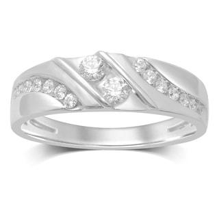 Unending Love 10k White Gold Round-cut Diamond Band
