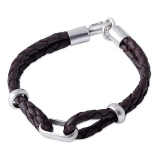 Men's Sterling Silver Leather 'Naturally' Bracelet (Peru)