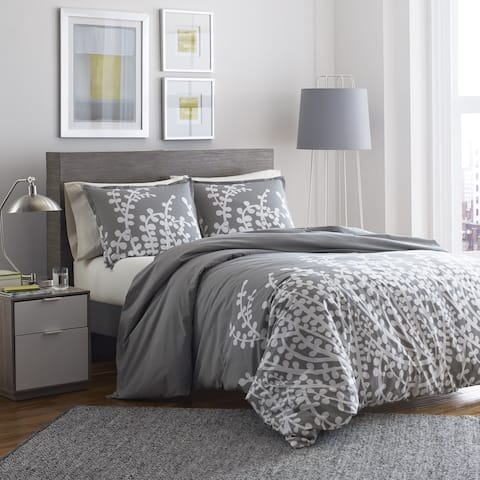 Copper Grove Collina Grey Branches Printed 3-piece Duvet Cover Set