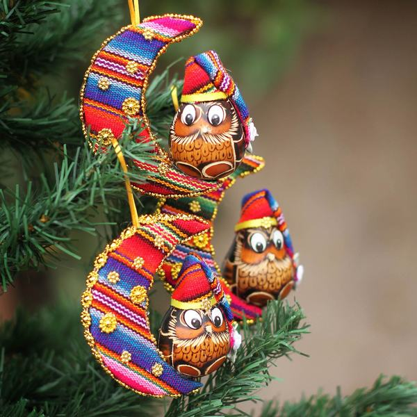Set of 3 Gourd Cotton Blend 'Happy Hoots' Ornaments (Peru)