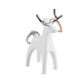 Umbra Anigram White Enamel and Chrome Reindeer Ring Holder