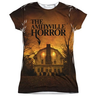 Amityville Horror/House Short Sleeve Junior 100-percent Poly Crew in White