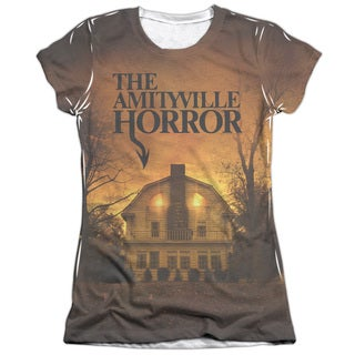 Amityville Horror/House Short Sleeve Junior 65/35 Poly/Cotton Crew in White