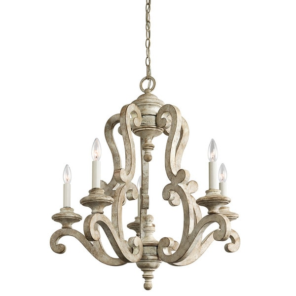Kichler lighting hayman bay collection 5 light distressed antique kichler lighting hayman bay collection 5 light distressed antique white chandelier mozeypictures Image collections