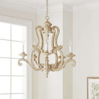 Link to Kichler Lighting Hayman Bay Collection 5-light Distressed Antique White Chandelier Similar Items in Chandeliers