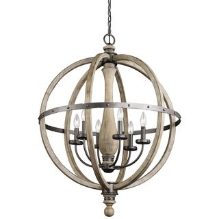 Kichler Lighting Evan Collection 6-light Distressed Antique Gray Chandelier