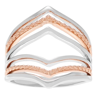 Journee Collection Sterling Silver Rose Goldplated Split Shank Ring