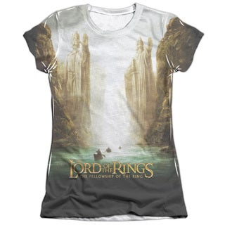LOTR/Fellowship Poster Short Sleeve Junior Poly/Cotton Crew in White