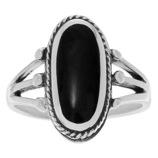 Journee Collection Sterling Silver Black Onyx Oval Ring