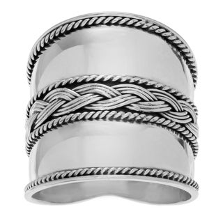 Journee Collection Sterling Silver Handmade Bali Design Ring