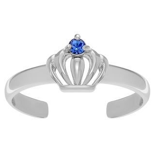 Journee Collection Sterling Silver Cubic Zirconia Crown Adjustable Toe Ring