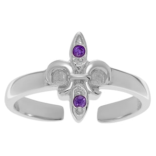 Journee Collection Sterling Silver Cubic Zirconia Fleur De Lis Toe Ring