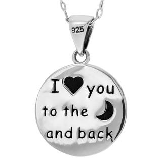 Journee Collection Sterling Silver Textured Moon and Back Pendant