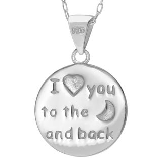 Journee Collection Sterling Silver High Polish Moon and Heart Pendant