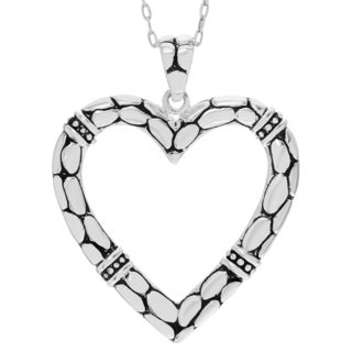 Journee Collection Sterling Silver Open Heart Textured Pendant