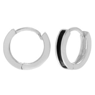 Journee Collection Sterling Silver Black Inlaid Saddleback Hoop Earrings