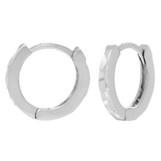 Journee Collection Sterling Silver Textured Saddleback Hoop Earrings