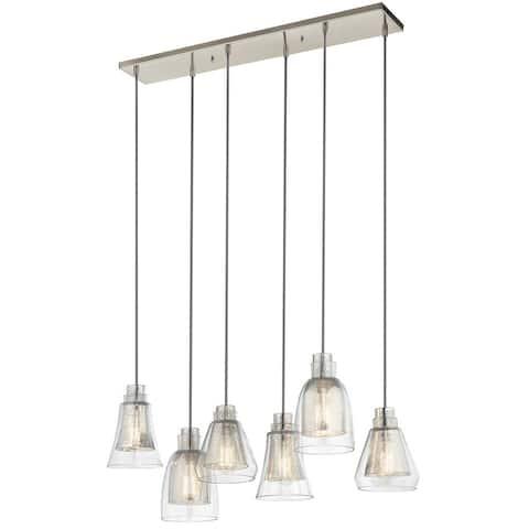 Kichler Lighting Evie Collection 6-light Brushed Nickel Linear Chandelier